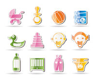 Simple Child, Baby and Baby Online Shop Icons Stock Photo