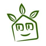 Cute smiling eco home logo. Vector cute smiling eco home logo in green vector illustration