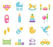 Simple Children Toys and Accessories Icons Stock Photos