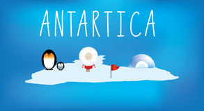 Simple childrens map of antartica with icons Stock Photography