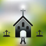 Simple christian church with cross and praying hands eps10 Stock Images