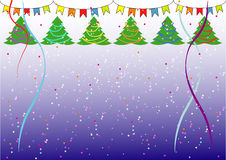 Simple Christmas background with Christmas trees,confetti and flags Stock Photo