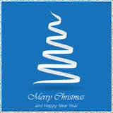 Simple christmas blue  background with christmas tree Royalty Free Stock Photo