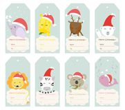 Simple Christmas bookmark set. Simple Christmas Simple Christmas bookmark se of zoo animals , blue background , illustration vector for kids stock illustration