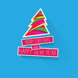 Simple Christmas card and New Year greetings  illustration. With design elements on blue background Stock Image
