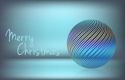 Simple Christmas card with striped transparent ball. Vector stock illustration