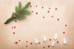 Simple christmas composition. Christmas composition, simple background, flat lay, copy space stock image