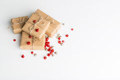 Simple christmas composition. Christmas composition, simple background, flat lay, copy space royalty free stock images