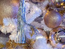 Simple christmas decoration, there are only light and ball on th Stock Image