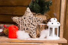 Simple Christmas Decors on Wooden Table Stock Photo