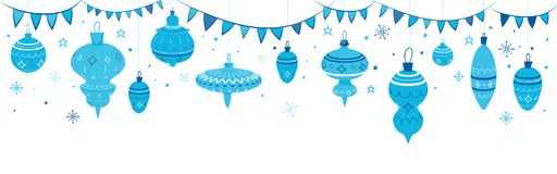 Simple christmas garland with balls and flags. Modern background for site header, banner, landscape design Royalty Free Stock Image