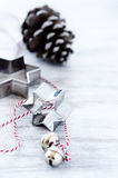 Simple christmas holiday background with silver ornaments Stock Photos