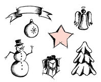 Simple Christmas icons. Royalty Free Stock Photography