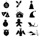 Simple Christmas icons black and white Stock Photo
