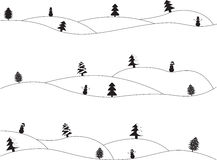 Simple Christmas landscapes Royalty Free Stock Photo