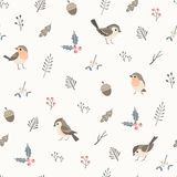 Simple Christmas pattern. Christmas flora seamless pattern with cute little birds Stock Images
