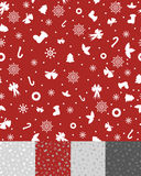 Simple Christmas Pattern. Pattern with Snowflakes, Bells, Fir-trees, Candy, Holly, Bow and Stocking Royalty Free Stock Image