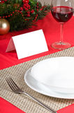Simple Christmas table setting Stock Photos