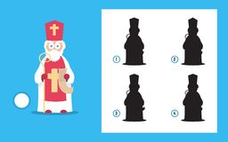 Simple christmas themed riddle with saint nicholas. Winter holiday puzzle game. royalty free stock image