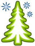 Simple Christmas Tree Clip Art. A simple clip art illustration featuring tree and snowflakes isolated on white Royalty Free Stock Images