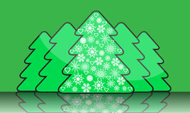 Simple christmas tree with decorations of snowflak vector illustration