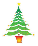 Simple Christmas Tree with Star Stock Images
