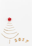 Simple christmas tree on white - original new year card Royalty Free Stock Image