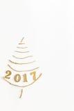 Simple christmas tree on white - original new year card Stock Photo