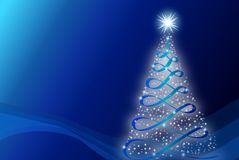 Simple Christmas tree wish at blue background Stock Photo