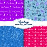 Simple Christmas vector seamless paterns Stock Image