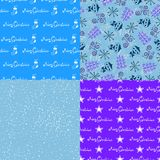 Simple Christmas vector seamless paterns Stock Images