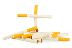 Simple cigarettes. Leave off smoking, cigarettes it is a grave Stock Photo