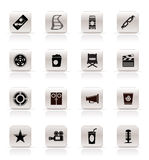 Simple Cinema and Movie Icons. Vector icon set Royalty Free Stock Images