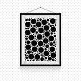 Simple circles photo frame on the wall - black and white background template. Simple circles photo frame on the dotted wall - black and white background template vector illustration
