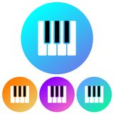 Simple, circular, gradient piano keys icon. Four color variations. Isolated on white Royalty Free Stock Image