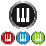 Simple, circular, metallic piano keys icon. Four color variations. Isolated on white stock illustration