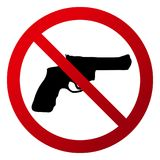 Simple, circular `No firearms allowed`. Red gradient sign, black silhouette. Isolated on white Stock Image