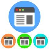 Simple, circular web page icon. Flat icon design. Isolated on white. Simple, circular web page icon. Flat icon design. Isolated on a white background stock illustration