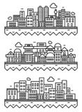 Simple city silhouette. Linear thin illustration isolated on white background. Outline design. City landscapes. Simple city silhouette. Linear thin illustration stock illustration