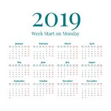 Simple 2019 year calendar. Simple classic style 2019 year calendar, week starts on monday Stock Photography