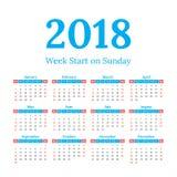 2018 calendar start on sunday. Simple classic style 2018 year calendar, week starts on sunday Royalty Free Stock Photo