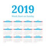 2019 calendar start on sunday. Simple classic style 2019 year calendar, week starts on sunday Stock Images