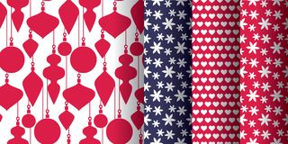 Simple classic xmas seamless pattern set. For background, wrapping paper, fabric, surface design. Naive Christmas repeatable motif in red and blue colors. stock royalty free illustration