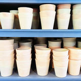 Simple clay pots on blue shelves Stock Photography