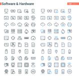 Simple clean and bold vector line Software and Hardware set. Simple and clean Vector line Software and Hardware set. Set of 100 Business Icons suitable for Royalty Free Stock Photos