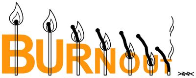 Simple clean conceptional line art vector illustration of burning matches on orange word BURNOUT Royalty Free Stock Image