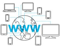 Simple clean conceptional vector flat line art illustration of global internet network computers and connected devices on word www. On white background Royalty Free Stock Photos