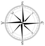 Simple Clean Currency Compass. Simple clean compass designed with the worlds major currencies royalty free illustration