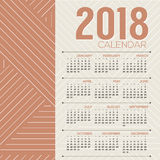 Simple And Clean 2018 Printable Calendar Starts Sunday Royalty Free Stock Photos
