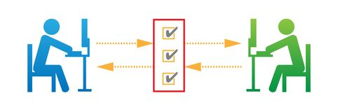 Network Protocol Vector Illustration. Simple clean vector illustration of people communicating suggesting a secure network protocol vector illustration